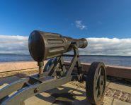 Voyage Russie, Carélie, Petrozavodsk - Un canon sur le quai Onega