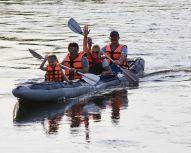 Kayak et chiens Huskys, Voyage Russie