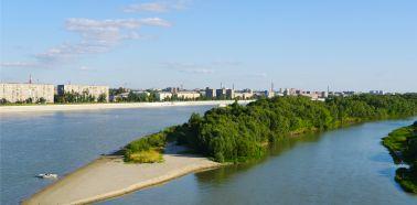 Voyage Russie, sibérie, Omsk - Vue de la ville et de la rivière Irtych